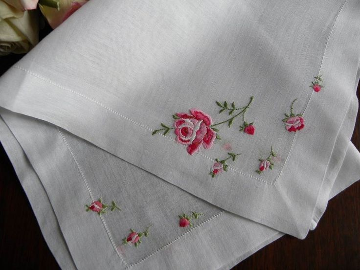 The Pink Rose Cottage - Vintage Embroidered Pink Rose Handkerchief
