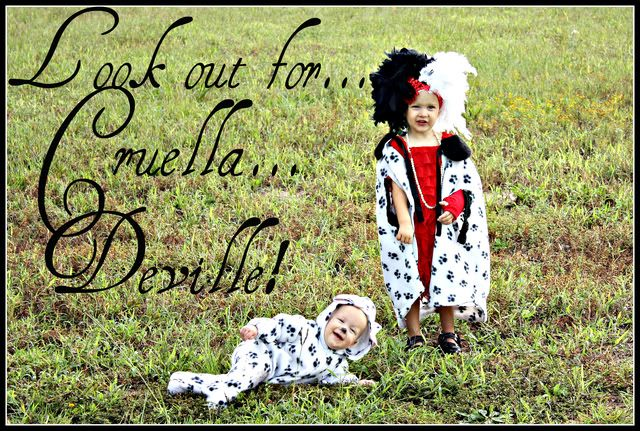 Cruella Deville and puppy...perfect for sister and younger brother!