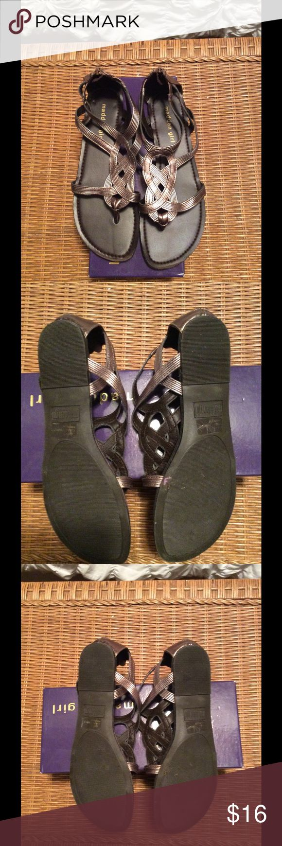 Madden Girl - pewter sandals - size 7 Madden Girl - pewter sandals - size 7 - in Excellent condition - like new!! Madden Girl Shoes Sandals