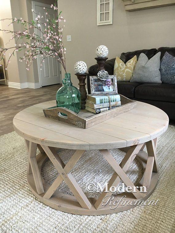 32 Ideas Decorate Minimalist Farmhouse Make Rustic Accent Coffee Table Farmhouse Round Coffee Table Decor Decorating Coffee Tables