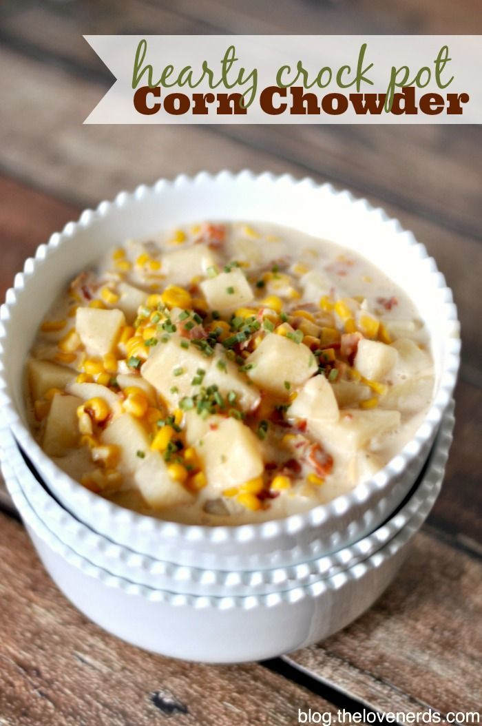 Hearty Crock Pot Corn Chowder - The perfect way to stay warm on a cold night! {The Love Nerds}
