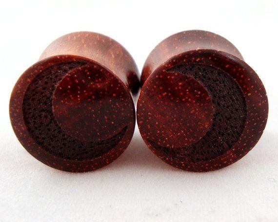 Crescent Moon smaller  Bloodwood Wooden Plugs  0g 8 mm by KCsGlass, $34.00