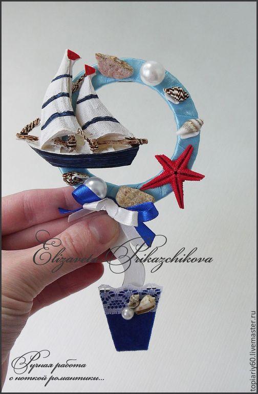 """Купить Топиарий магнит на холодильник, деревце счастья """"Море зовет"""" - синий, топиарий"""