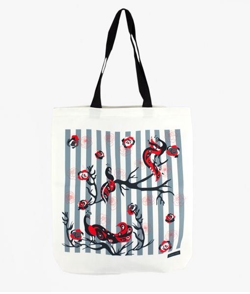 Peacocks Bliss canvas tote bag