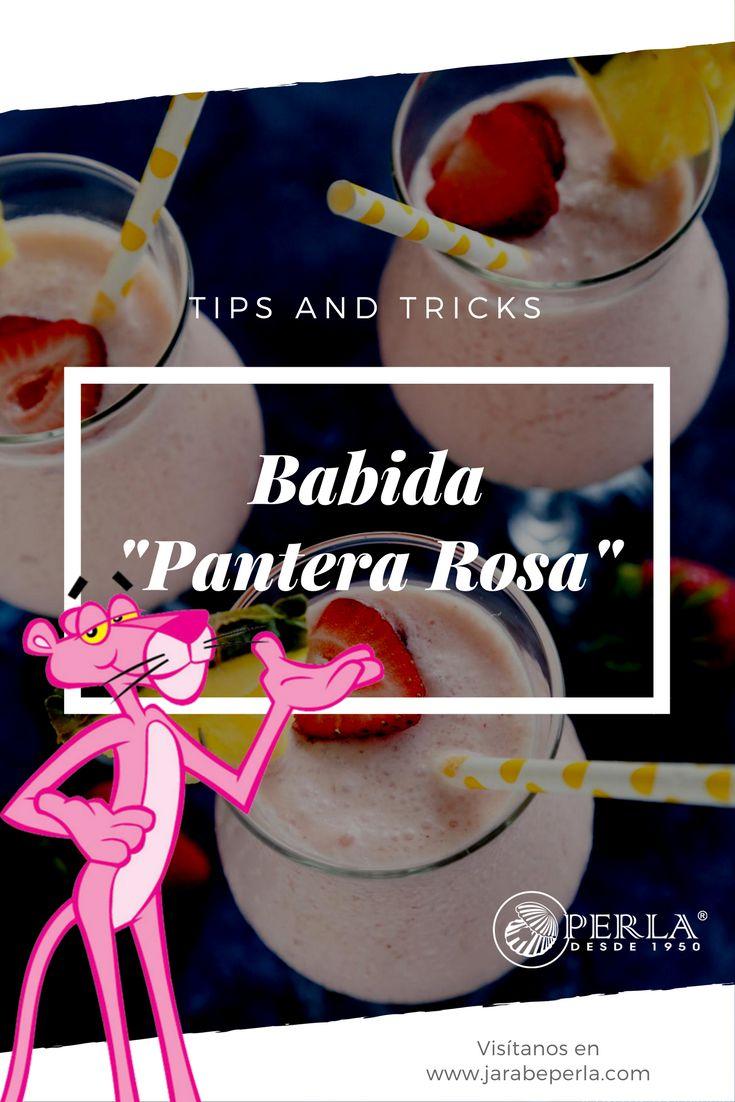 -Pantera Rosa- Ingredientes: 1 taza juego de piña, 1/2 taza crema de coco, 3 cucharadas ron y 1 cucharada granadina Jarabe Perla ®. -Pasos:- Agregamos todos los ingredientes en la licuadora y servimos en un vaso y podemos adornar con una cereza o una sombrilla.