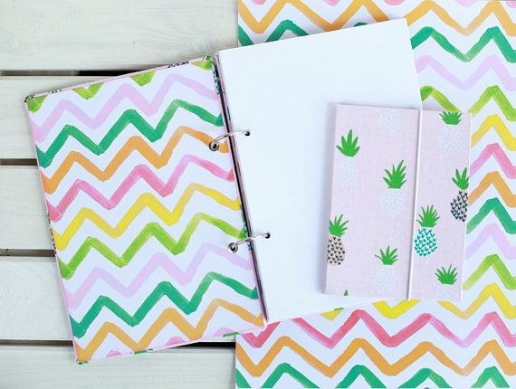 Gift set Pineapple Notebook A5 and accordion photo album