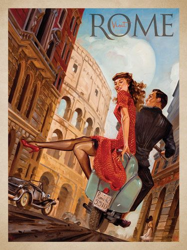 Rome by Vespa - This series of romantic travel art is made from original oil paintings by artist Kai Carpenter. Styled in an Art Deco flair, this adventurous scene is sure to bring a smile and maybe even a smooch to any classic poster art lover!