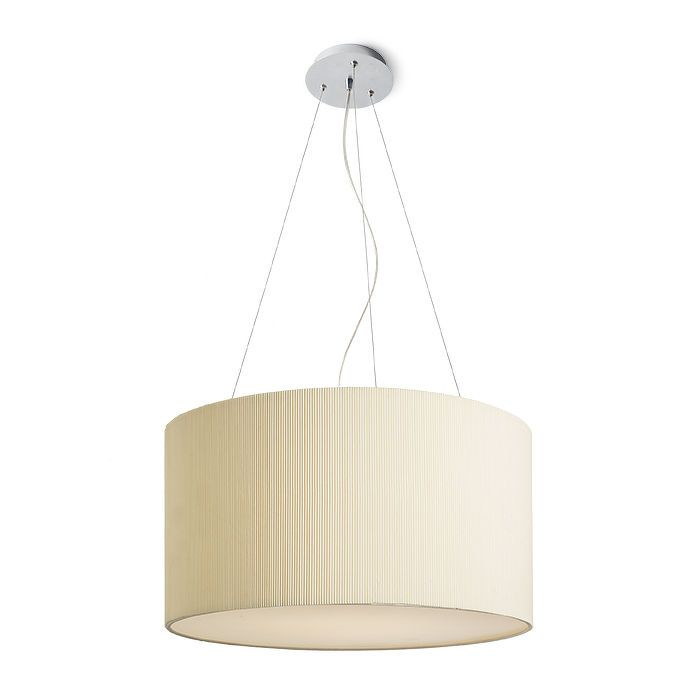 LALO   rendl light studio   Suspended light with a finely pleated shade in cream white. #lighting #pendant #interior