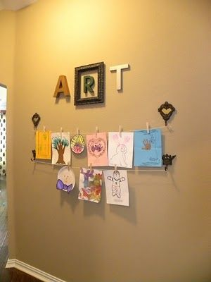 Very cool idea for displaying kids' artwork