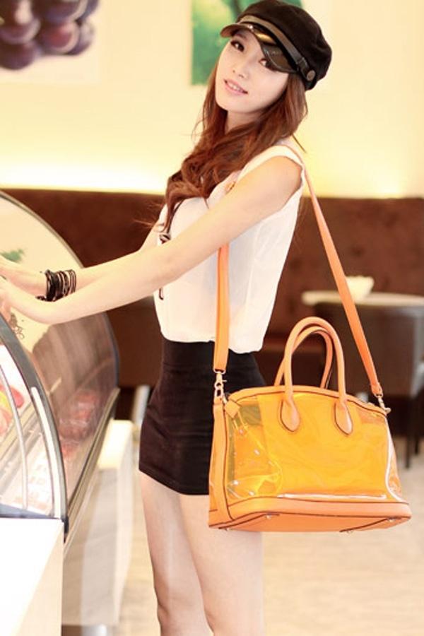 Decorative Lock Transparent Handbag - OASAP.com