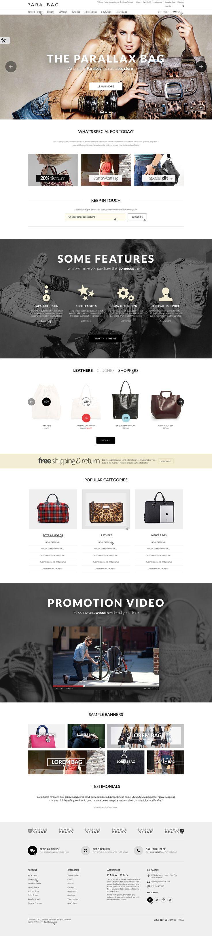 Opencart Fashion Bag Store – Parallax