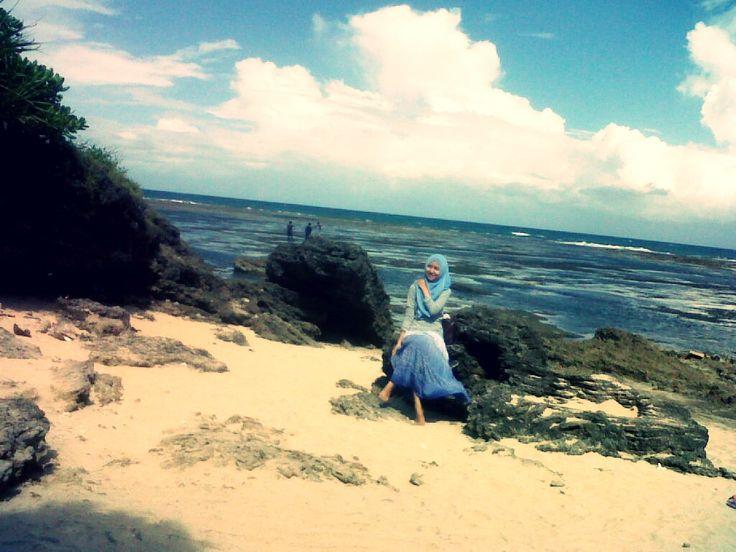 pantaii, langit biru, angin, pasirr...