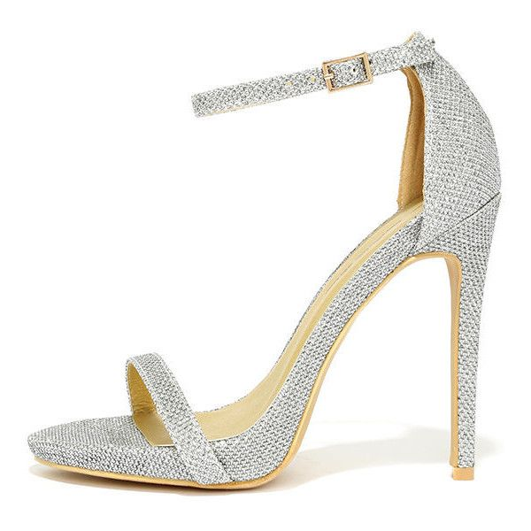 Night Away Silver Ankle Strap Heels (3.090 RUB) ❤ liked on Polyvore featuring shoes, heels, silver, silver shoes, c label shoes, ankle tie shoes, ankle strap shoes and ankle wrap shoes