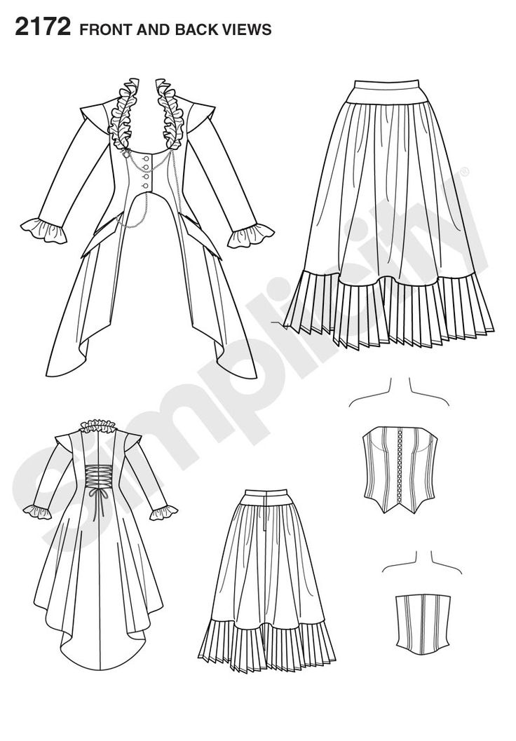 Simplicity pattern 2172: Misses' Costume. Victorian-era dress