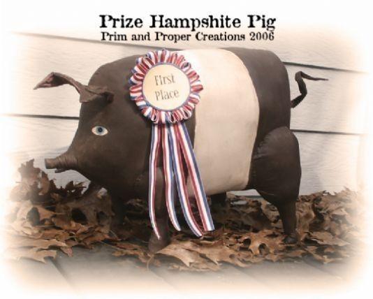 Primitive Folk Art Prize Hampshire Pig by primandproperfolks
