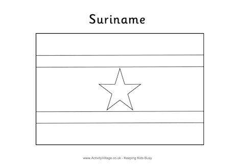 Suriname flag colouring page