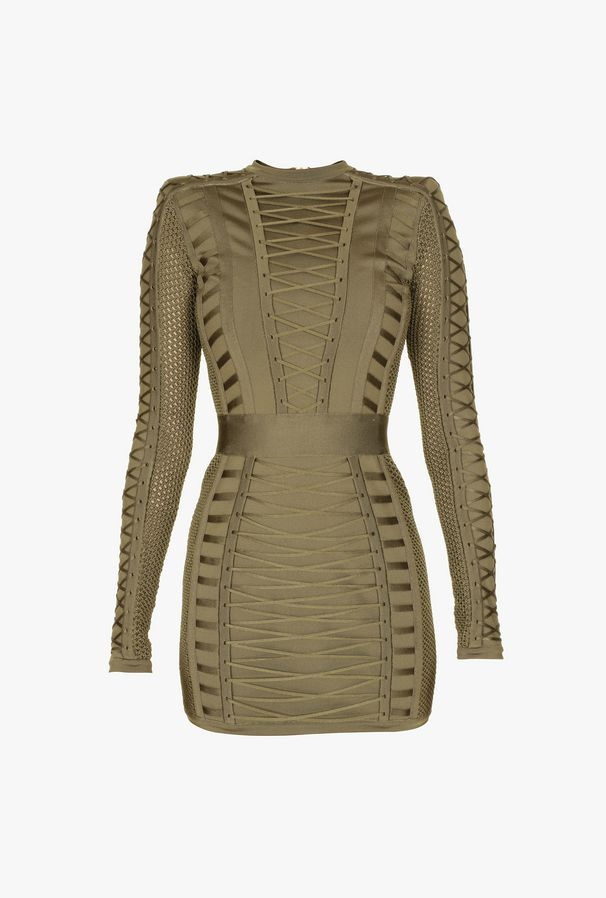 872cede4c41dc Balmain - Lace-up knit khaki mini-dress ( 4