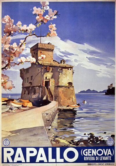 Vintage Italian Posters ~ Italy Italian Rapallo Genoa (Liguria) Vintage Travel Poster #essenzadiriviera - www.varaldocosmetica.it