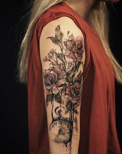 attractive flower tattoos on arm for women sch ne. Black Bedroom Furniture Sets. Home Design Ideas