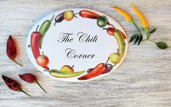 Chili peppers house sign Hand painted house by LaTavolozzaShop