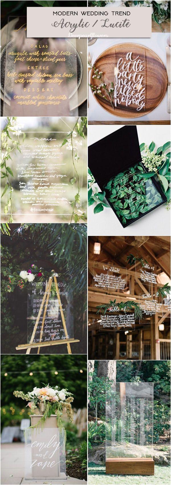 Acrylic wedding decor ideas for modern wedding / http://www.deerpearlflowers.com/modern-wedding-theme-ideas/