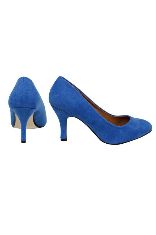 Blue Suedette Court Shoe In E Fit