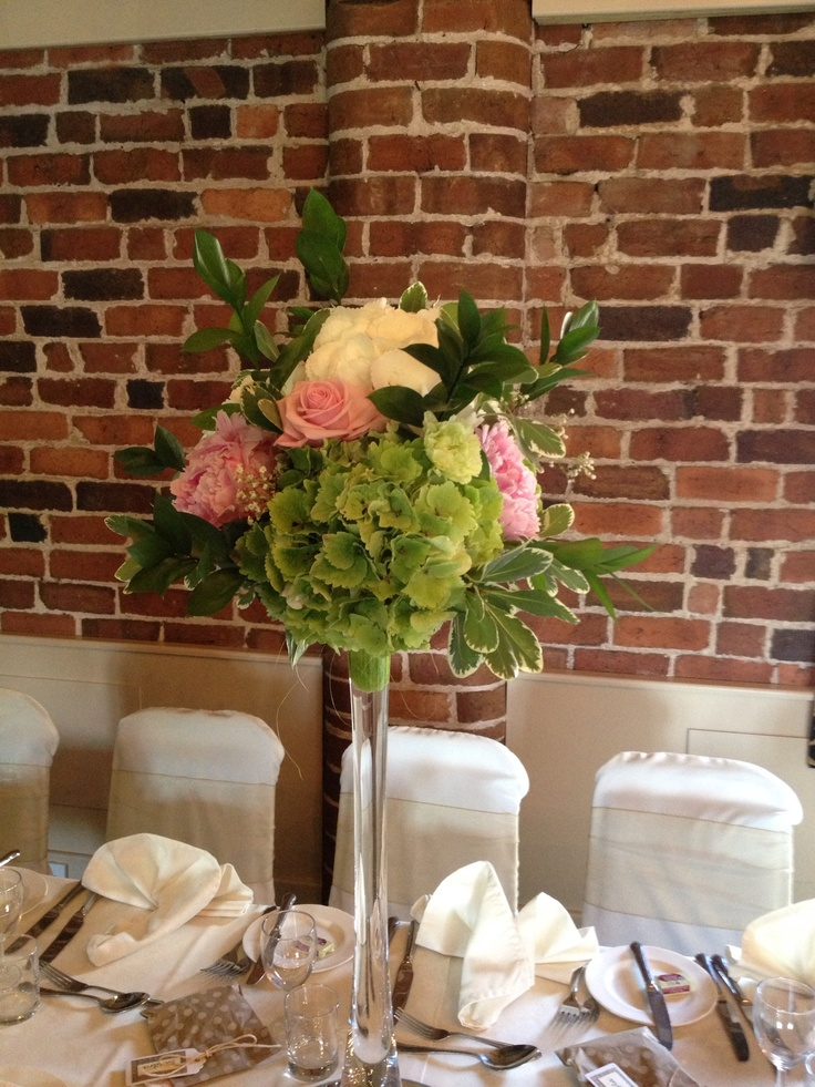 Lily Vase topped with sphere of Hydrangea, Peonies, Roses and Foliage