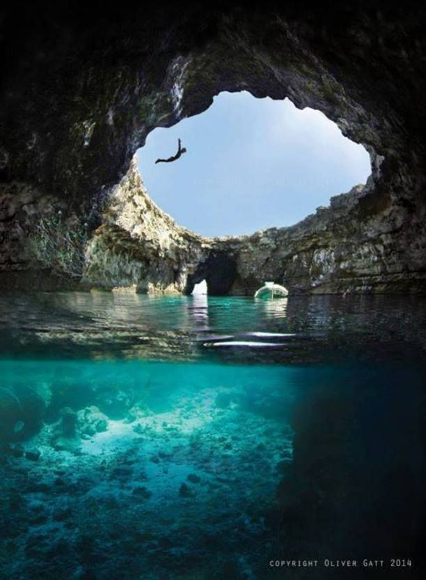 open cave, ahrax mellieha, Mellieha, Malta -  and situated in the North of the island. Reachable by canoe/boat from Armier bay from the Malta
