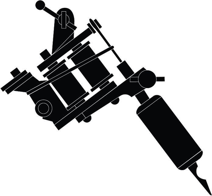 Tattoo Machine Silhouette | Tattoo Machine Gun - Black on White
