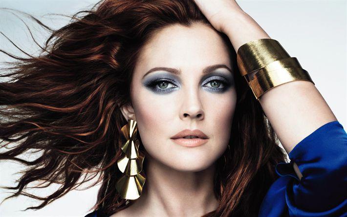 Descargar fondos de pantalla Drew Barrymore, la actriz Estadounidense, maquillaje, rubia, mujer bella, retrato
