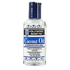 Love this stuff! Coconut Oil for hair and body. Sallys beauty supply. A little goes a long way. After I wash my hair. Air dry, rub some of this stuff into scalp not hair . Then I use a heat protector spray. Blow out hair , spray more hps , flat iron, then after use a little all over hair and another scalp rub. Very light. Pleasant smell also:)