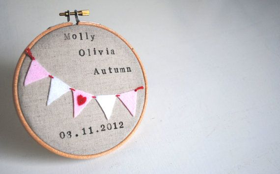 Custom Personalised Newborn Baby Girl Embroidery Hoop Wall Art  - Name, Date of Birth, Pink Bunting - Nursery Decor, New Baby Gift on Etsy, $34.04