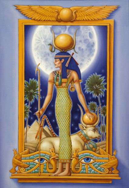 Hathor - She was the daughter of the sun god, Ra and worshipped as the Goddess of of joy, abundance and pleasure as well as being the protector of mothers and children and the guardian spirit of female animals.
