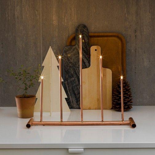 Adventsstake LED Kobber 5 Lys