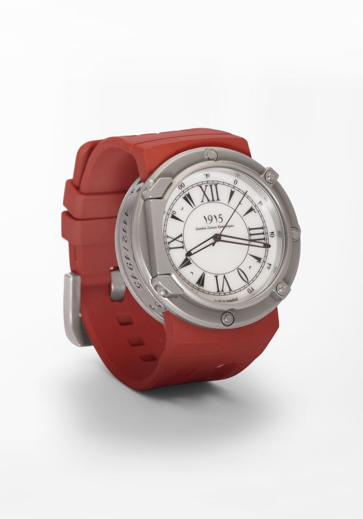 Stainless steel case in Turkish red strap