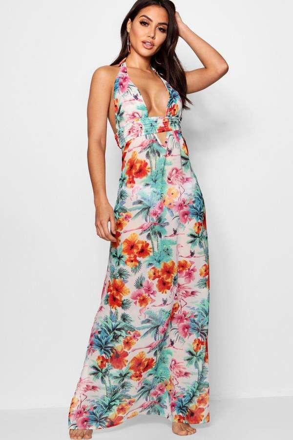 f9dde5cfad boohoo Jade Tropical Flamingo Maxi Beach Dress | Outfits | Beach ...