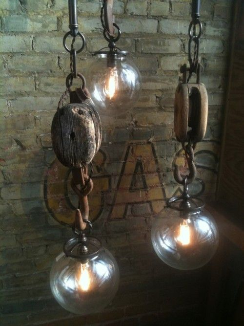 Awesome. I remember having pulleys like this growing up. I'd love to find some, and some globes like this to make some lights!