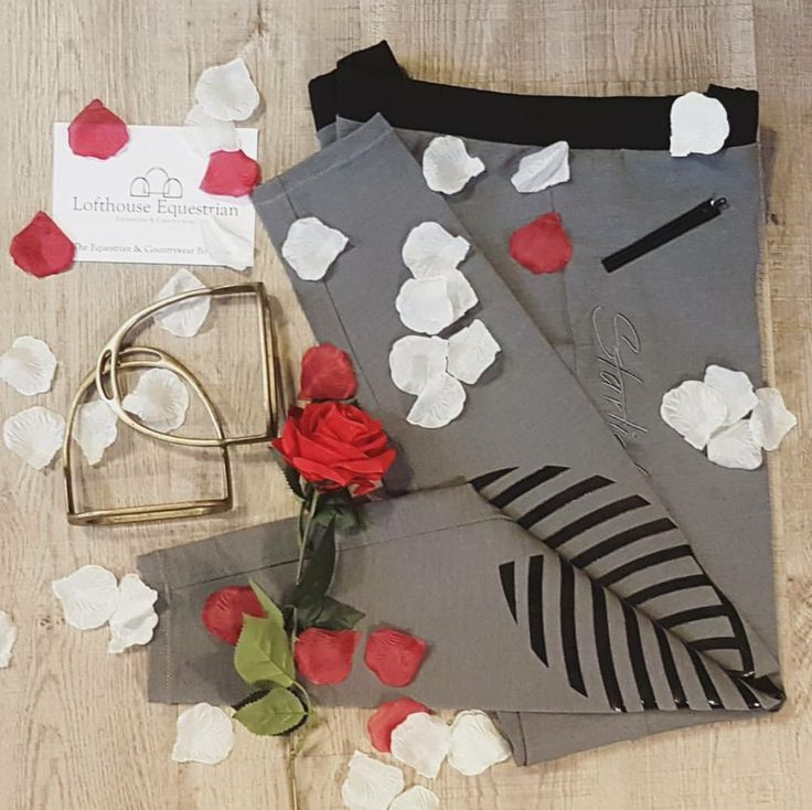 HKM Starlight Riding Leggings in grey | Flat Lay| Equestrian | Lofthouse Equestrian | riding leggings | breeches | flowers |roses