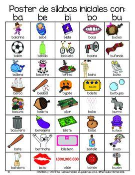Posters y tarjetas de s labas iniciales en palabras con b for La b b