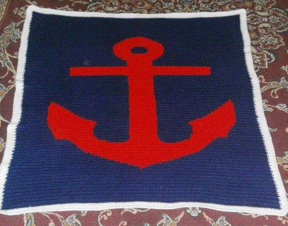 Anchor Knitting Pattern Blanket : Anchor blanket by jennandgussie on Etsy, USD75.00 Crochet ...