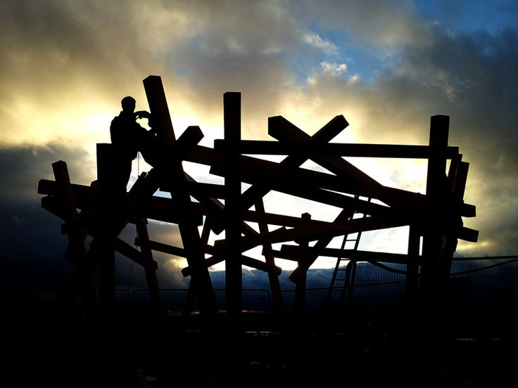 Large bird's nest sculpture at the look-out point in Heeley Millennium Park, Sheffield.  Douglas fir frame, with fabricated galvanised steel base details by Tyree Fabrications, who are based in Sheaf Bank Works. A great sunset photography shot.