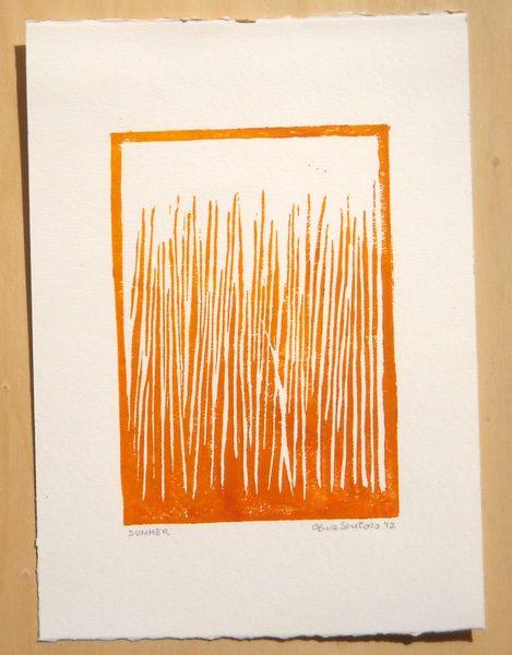 Stampe su linoleum - Soleggiato campo d'estate - linoleografia astratta - un prodotto unico di ollina-ink su DaWanda