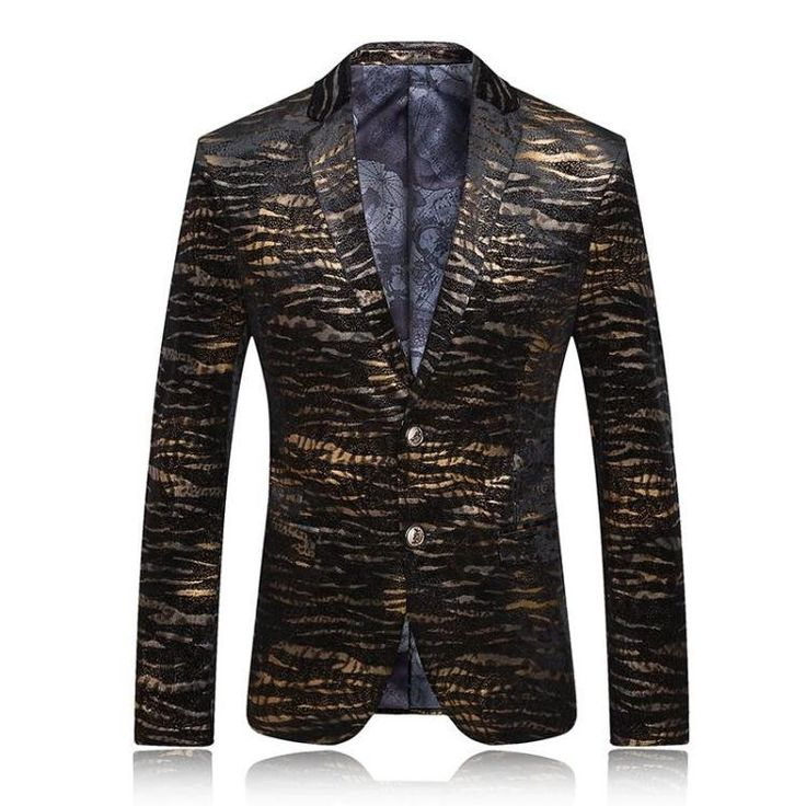 Men Blazer Men's Leopard Print Blazer Gold Blazer For Men Stage Costumes For Singers Vintage Suits