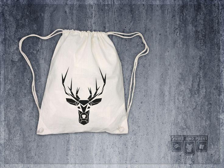 "gym bag ""Origami Deer Geometric"" organic eco from shirtandprint by DaWanda.com"
