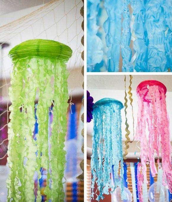 la decoración de mis mesas: DIY Medusas con globos de papel.