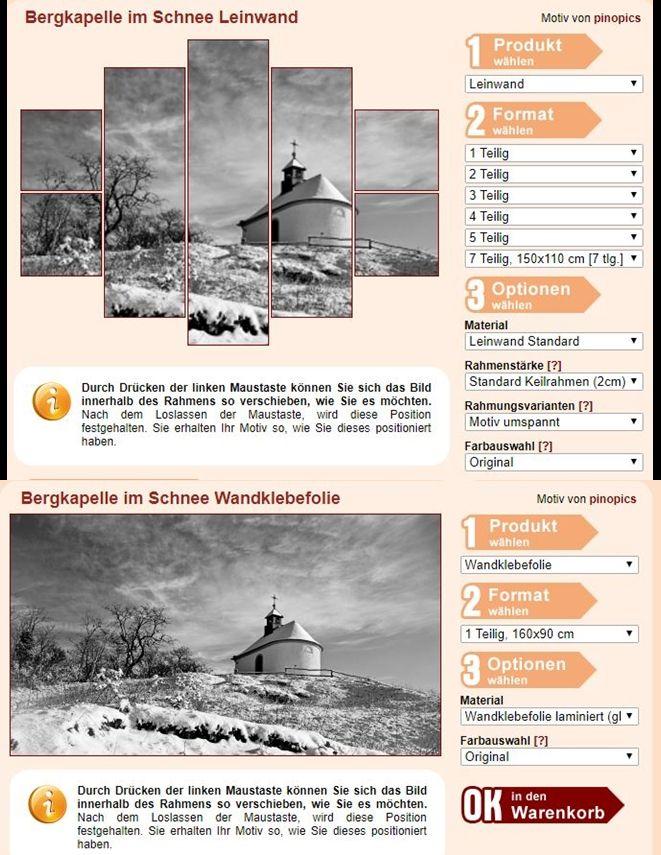 """Bergkapelle im Schnee Leinwand Exklusiv: Fertig gerahmte Leinwand Bergkapelle im Schnee Fotoleinwand günstig als Kunstdruck kaufen.   Eine kleine Kapelle auf einem Berg namens """"Kleine Kalmit"""", an einem herrlichen Wintertag mit schönem Wolkenhimmel. Schwarzweiß, schwarzweiss, schwarz-weiß, schwarz-weiss"""