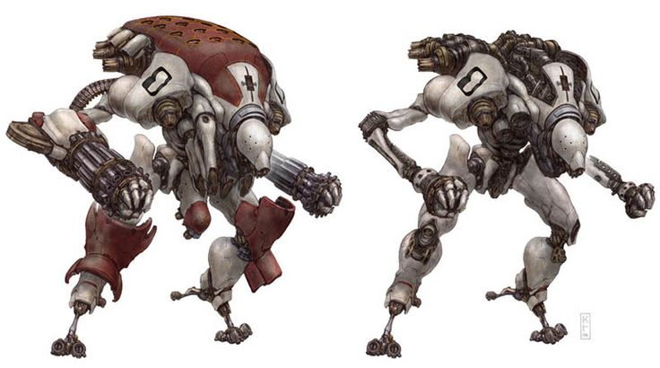 """The """"Romulus"""" robot concept, with or without its armor by Keith Thompson"""