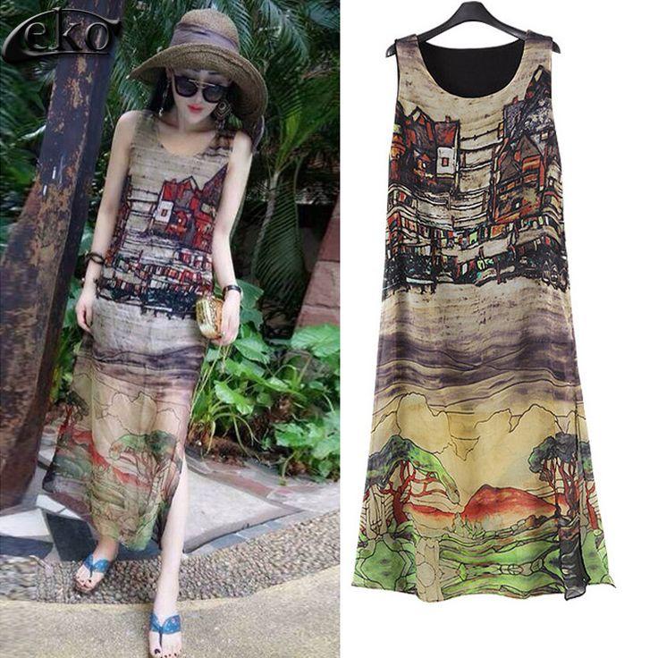 Women Dress 2016 Vntage Ink Print Silk Chiffon Dresses Casual Long Summer Dresses Plus Size Maxi Sundress Beach Lady long dress