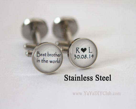 Brother of the bride gift, Best Brother, Wedding gift for brother of the bride, Custom Wedding Cufflinks, Stainless Steel Cufflinks Custom