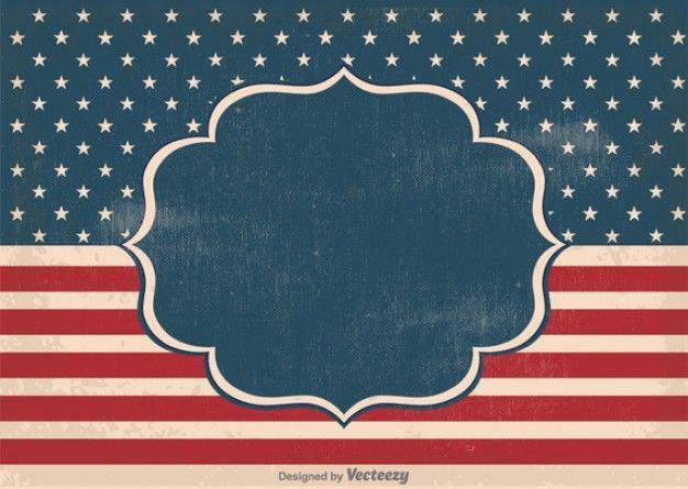 EUA etiqueta bandeira do vintage Vetor grátis